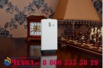 """Фирменный оригинальный вертикальный откидной чехол-флип для Microsoft Lumia 640 XL белый из качественной импортной кожи """"Prestige"""" Италия"""