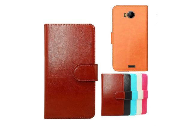 """Фирменный чехол-книжка для  Micromax Q379 4.5"""" с визитницей и мультиподставкой коричневый кожаный"""
