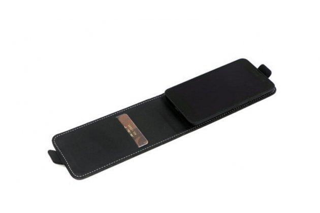 """Фирменный оригинальный вертикальный откидной чехол-флип для Micromax Canvas Spark Q380  черный из натуральной кожи """"Prestige"""" Италия"""