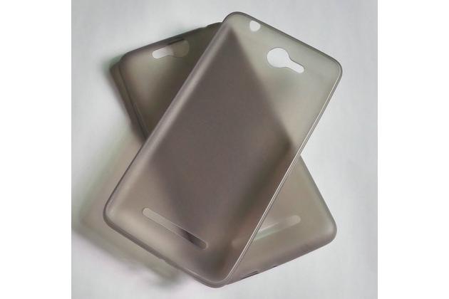 """Фирменная ультра-тонкая силиконовая задняя панель-чехол-накладка для Micromax Canvas Juice Q392 5.0"""" серая"""