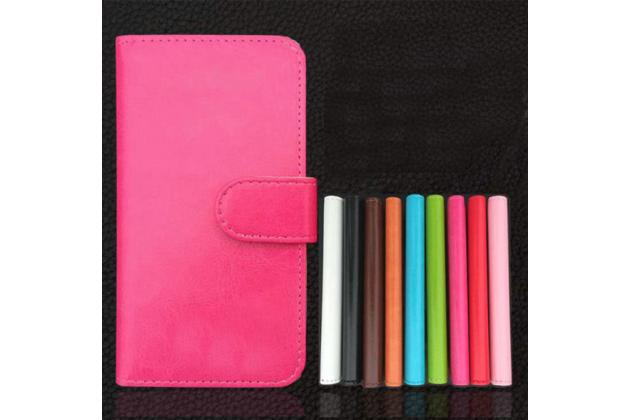 """Фирменный чехол-книжка для Micromax Canvas Juice Q392 5.0"""" с визитницей и мультиподставкой черный кожаный"""