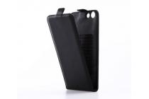 """Фирменный оригинальный вертикальный откидной чехол-флип для Micromax Q415 Canvas Pace 4G 4.5"""" черный кожаный"""