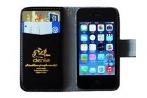 Фирменный чехол-книжка из качественной импортной кожи с подставкой застёжкой и визитницей для Микромакс Болт Селфи Кью424 черный