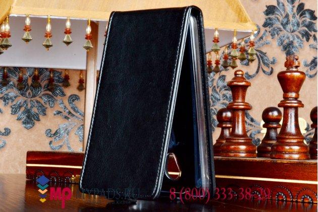 Фирменный оригинальный вертикальный откидной чехол-флип для Micromax A106 Unite 2 черный кожаный