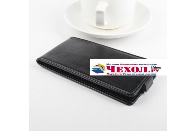 """Фирменный оригинальный вертикальный откидной чехол-флип для Micromax A116 Canvas HD 5.0"""" черный кожаный"""