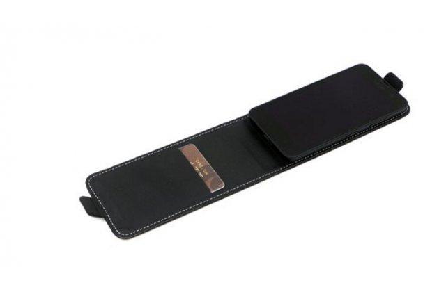 """Фирменный оригинальный вертикальный откидной чехол-флип для  Micromax AQ5001 Canvas Power  черный из натуральной кожи """"Prestige"""" Италия"""