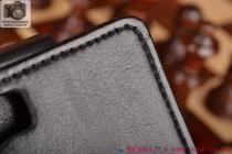 """Фирменный оригинальный вертикальный откидной чехол-флип для Micromax Canvas Turbo черный кожаный """"Prestige"""" Италия"""