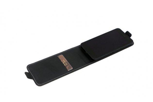 """Фирменный оригинальный вертикальный откидной чехол-флип для Micromax Canvas MAd A94 черный из натуральной кожи """"Prestige"""" Италия"""