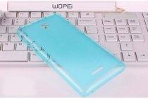Фирменная ультра-тонкая полимерная из мягкого качественного силикона задняя панель-чехол-накладка для Microsoft Lumia 435 голубая
