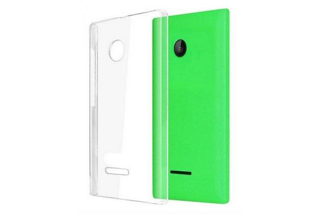 Фирменная ультра-тонкая пластиковая задняя панель-чехол-накладка для Microsoft Lumia 435 прозрачная