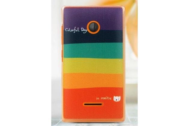 """Фирменная необычная из легчайшего и тончайшего пластика задняя панель-чехол-накладка для Microsoft Lumia 435 """"тематика Все цвета Радуги"""""""