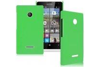 Фирменная задняя панель-крышка-накладка из тончайшего и прочного пластика для Microsoft Lumia 435 зеленая