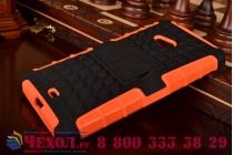 Противоударный усиленный ударопрочный фирменный чехол-бампер-пенал для Microsoft Lumia 540 / Dual SIM оранжевый