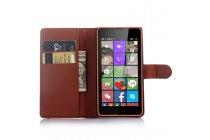 Фирменный чехол-книжка из качественной импортной кожи с подставкой застёжкой и визитницей для Microsoft Lumia 540 / Dual SIM коричневый