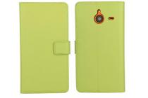 Фирменный чехол-книжка из качественной импортной кожи с мульти-подставкой застёжкой и визитницей для Майкрософт Люмия 640 ИксЛ зеленый