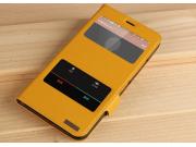 Фирменный чехол-книжка для Майкрософт Люмия 640 ИксЛ желтый с окошком для входящих вызовов и свайпом водооттал..