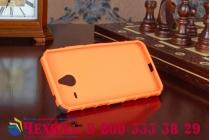 Противоударный усиленный ударопрочный фирменный чехол-бампер-пенал для Microsoft Lumia 640 XL оранжевый