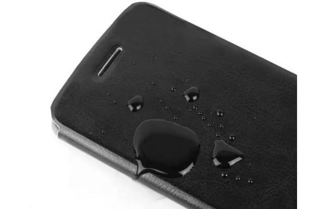 Фирменный чехол-книжка из качественной водоотталкивающей импортной кожи на жёсткой металлической основе для Microsoft Lumia 640  бирюзовый