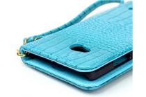 """Фирменный чехол-книжка с подставкой для Microsoft Nokia Lumia 640 5.0"""" лаковая кожа крокодила бирюзовый"""