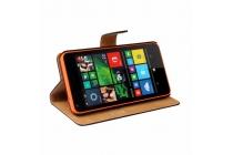 Фирменный чехол-книжка из качественной импортной кожи с подставкой застёжкой и визитницей для Microsoft Lumia 640 зеленый