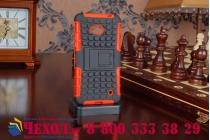 Противоударный усиленный ударопрочный фирменный чехол-бампер-пенал для Microsoft Lumia 640  оранжевый