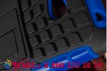 Противоударный усиленный ударопрочный фирменный чехол-бампер-пенал для Microsoft Lumia 640 синий