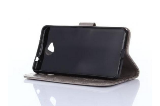 """Фирменный чехол-книжка из качественной импортной кожи с подставкой застёжкой и визитницей для Майкрасофт Люмия 650 / Microsoft Lumia 650 5.0"""" золотой"""