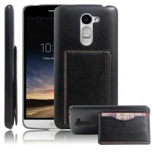 """Фирменная роскошная элитная премиальная задняя панель-крышка для Microsoft Lumia 650 5.0"""" из качественной кожи буйвола с визитницей черная"""