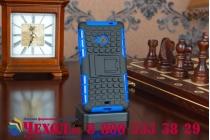 Противоударный усиленный ударопрочный фирменный чехол-бампер-пенал для Microsoft Nokia Lumia 535 синий