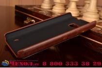"""Фирменная роскошная элитная премиальная задняя панель-крышка для Microsoft Lumia 550 4.7""""  из качественной кожи буйвола с визитницей коричневый"""