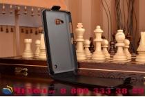 """Фирменный оригинальный вертикальный откидной чехол-флип для Microsoft Nokia Lumia 550 4.7"""" черный кожаный """"Prestige"""" Италия"""