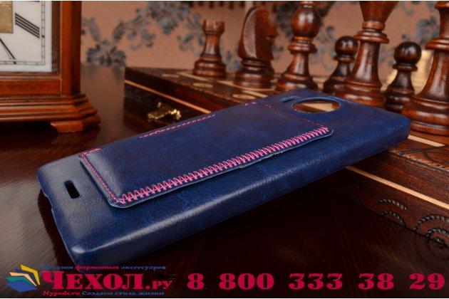 """Фирменная роскошная элитная премиальная задняя панель-крышка для Microsoft Lumia 950 XL / 950 XL Dual Sim 5.7"""" из качественной кожи буйвола с визитницей синяя"""