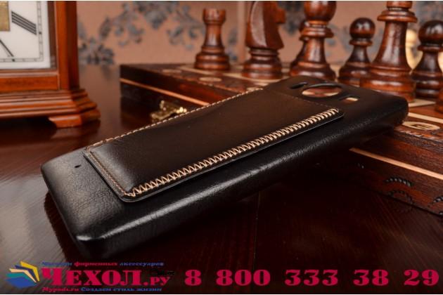 """Фирменная роскошная элитная премиальная задняя панель-крышка для Microsoft Lumia 950 / 950 Dual Sim 5.2"""" из качественной кожи буйвола с визитницей черная"""