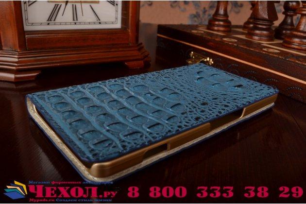 Фирменный роскошный эксклюзивный чехол с объёмным 3D изображением рельефа кожи крокодила синий для Microsoft Nokia Lumia 950 XL . Только в нашем магазине. Количество ограничено