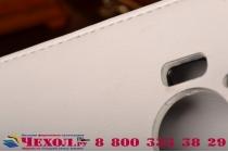 """Фирменный оригинальный вертикальный откидной чехол-флип для Microsoft Lumia 950 / 950 Dual Sim 5.2"""" белый из натуральной кожи"""