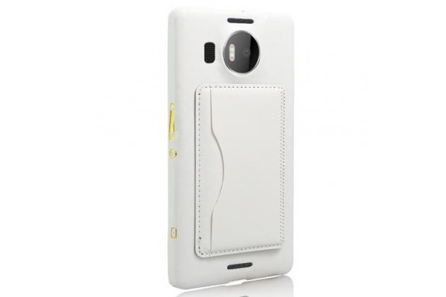 """Фирменная роскошная элитная премиальная задняя панель-крышка для Microsoft Lumia 950 XL / 950 XL Dual Sim 5.7"""" из качественной кожи буйвола с визитницей белая"""