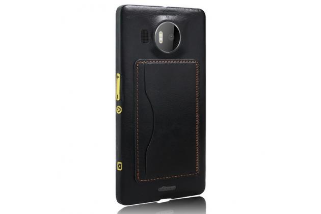 """Фирменная роскошная элитная премиальная задняя панель-крышка для Microsoft Lumia 950 XL / 950 XL Dual Sim 5.7"""" из качественной кожи буйвола с визитницей черная"""
