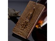 Фирменный роскошный эксклюзивный чехол с объёмным 3D изображением кожи крокодила коричневый для Microsoft Noki..