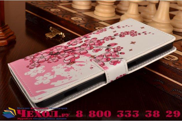 """Фирменный уникальный необычный чехол-книжка для Microsoft Lumia 950 XL / 950 XL Dual Sim 5.7"""" """"тематика цветок Сакуры"""""""
