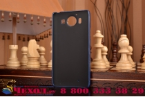 """Фирменная роскошная элитная премиальная задняя панель-крышка для Microsoft Lumia 950 / 950 Dual Sim 5.2"""" из качественной кожи буйвола с визитницей синяя"""