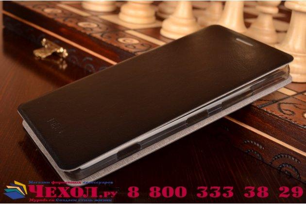 """Фирменный чехол-книжка  для Microsoft Lumia 950 / 950 Dual Sim 5.2"""" из качественной водоотталкивающей импортной кожи на жёсткой металлической основе черного цвета"""