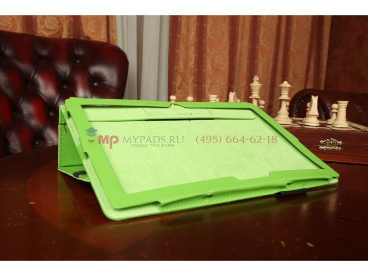 Фирменный чехол-обложка для Microsoft Surface PRO 2 зеленый кожаный..