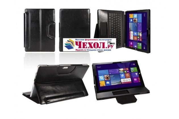 Фирменный чехол для Microsoft Surface Pro 3 Dock Keyboard с отделением под клавиатуру черный кожаный