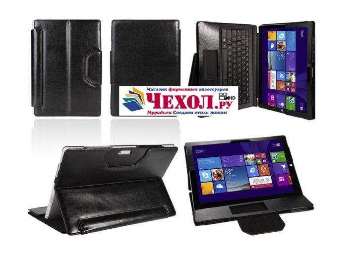 Фирменный чехол для Microsoft Surface Pro 3 Dock Keyboard с отделением под клавиатуру черный кожаный..