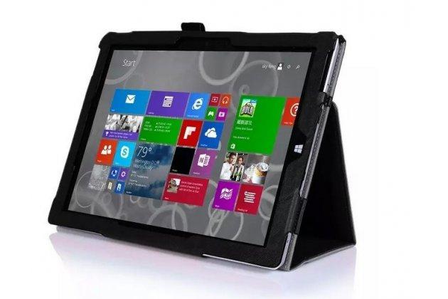 """Фирменный чехол бизнес класса для Microsoft Surface 3 10.8"""" с визитницей и держателем для руки черный натуральная кожа """"Prestige"""" Италия"""