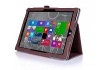 """Фирменный чехол бизнес класса для Microsoft Surface 3 10.8"""" с визитницей и держателем для руки коричневый натуральная кожа """"Prestige"""" Италия"""