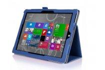 """Фирменный чехол бизнес класса для Microsoft Surface 3 10.8"""" с визитницей и держателем для руки синий натуральная кожа """"Prestige"""" Италия"""
