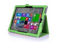 """Фирменный чехол бизнес класса для Microsoft Surface 3 10.8"""" с визитницей и держателем для руки зелёный натуральная кожа """"Prestige"""" Италия"""