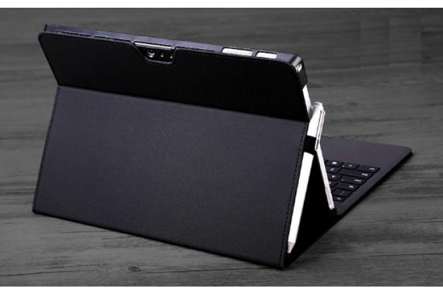 """Фирменный чехол для Microsoft Surface 3 10.8"""" Dock Keyboard с отделением под клавиатуру черный кожаный"""