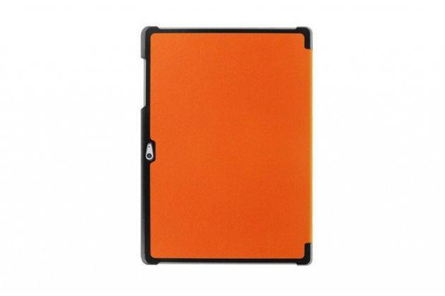 """Фирменный умный чехол самый тонкий в мире для планшета Microsoft Surface 3 10.8"""" дюймов """"Il Sottile"""" оранжевый кожаный"""